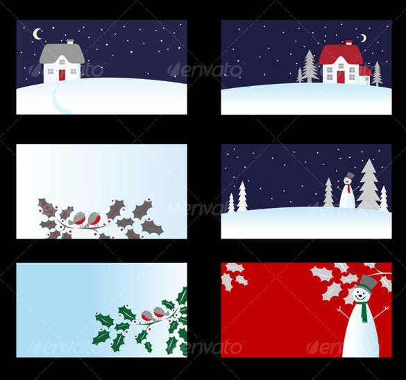 6 creative christmas card template eps download