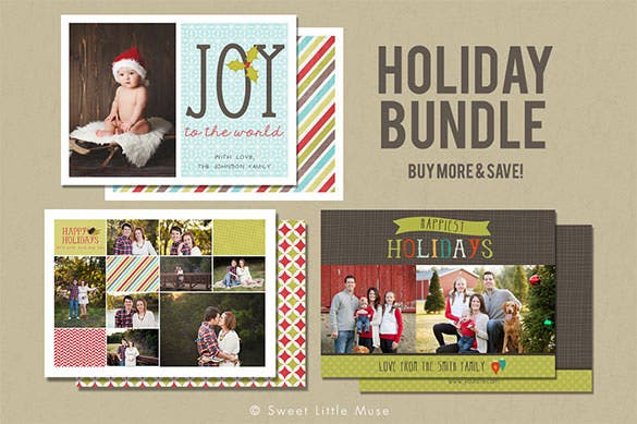 holiday christmas card template bundle download