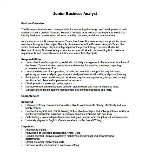 junior business analyst job description free pdf template