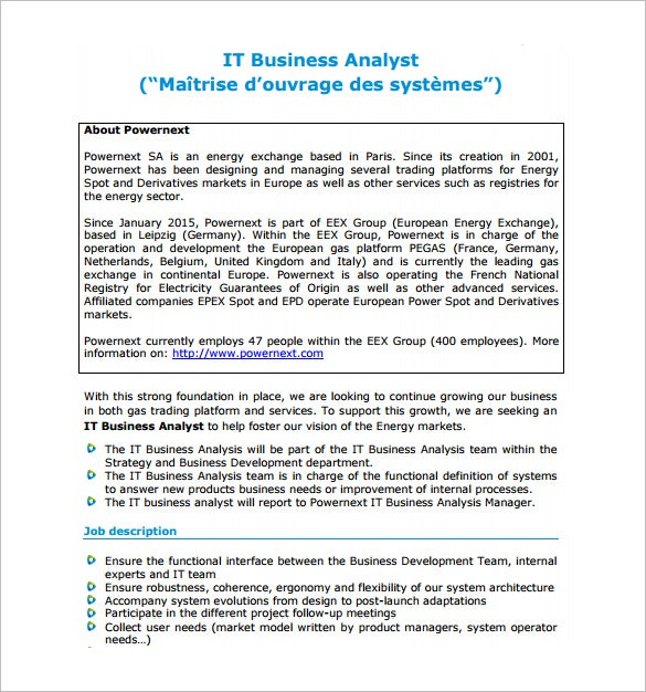 it business analyst job description pdf free download