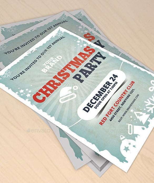 2 business christmas party invitation flyer template psd