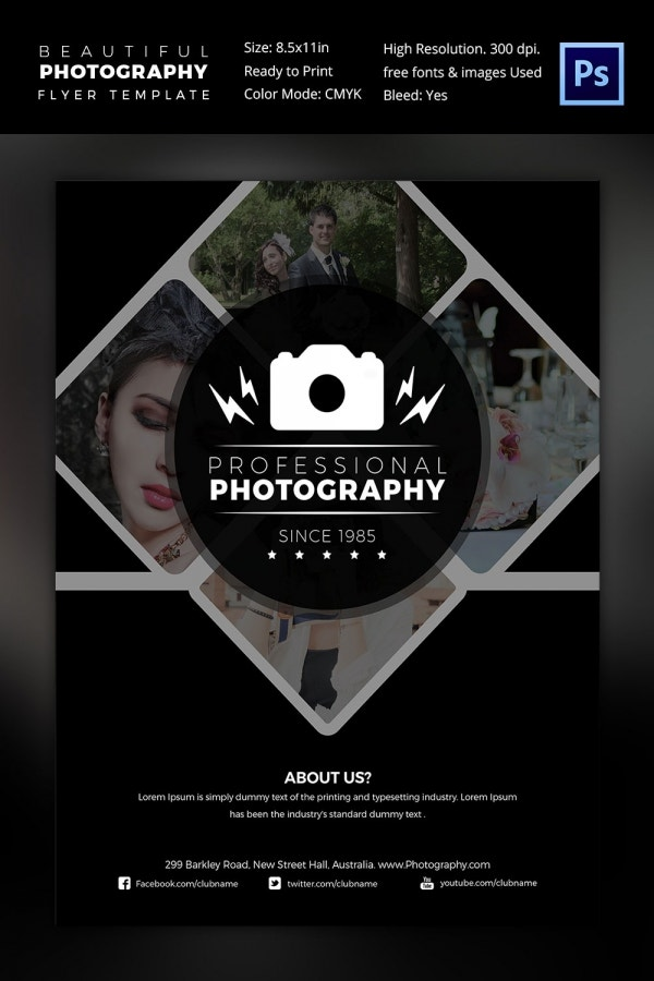 Beautiful Photographer PSD Flyer Template