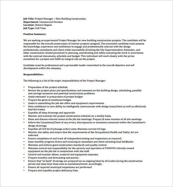 construction project manager job description free pdf download
