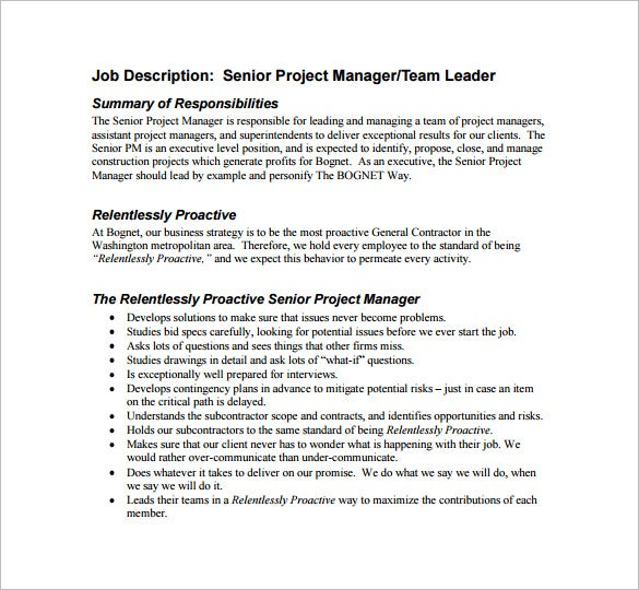Project Manager Job Description Template 10 Free Word PDF – Construction Project Manager Job Description