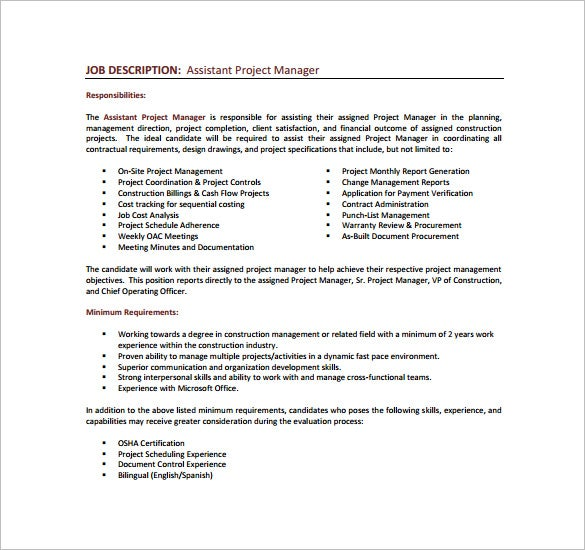 Project Manager Job Description Template 10 Free Word PDF – Construction Management Job Description