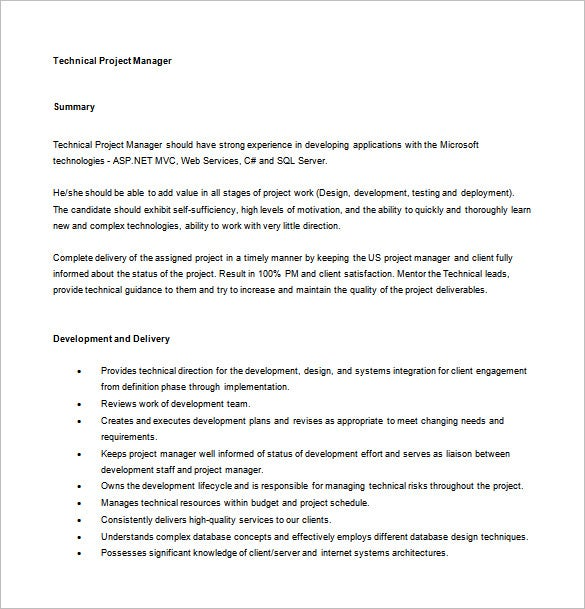 Project Manager Job Description Template 10 Free Word PDF – Job Description Template Word