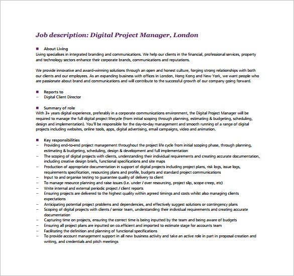 Wonderful Digital Project Manager Job Description Free PDF Download