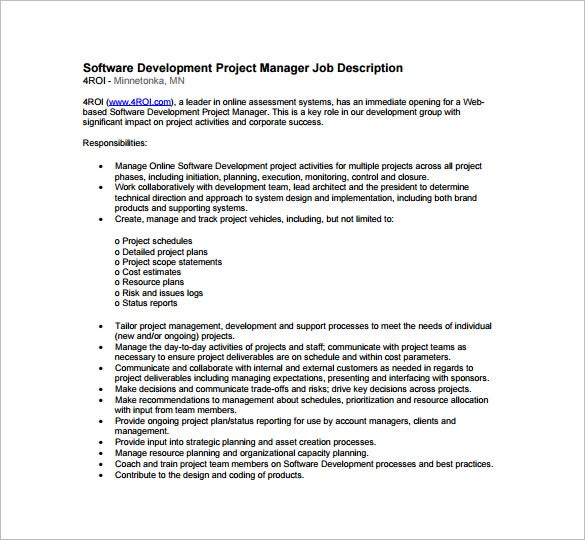 project manager job description for software development free pdf