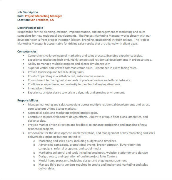 project marketing manager job description pdf free download