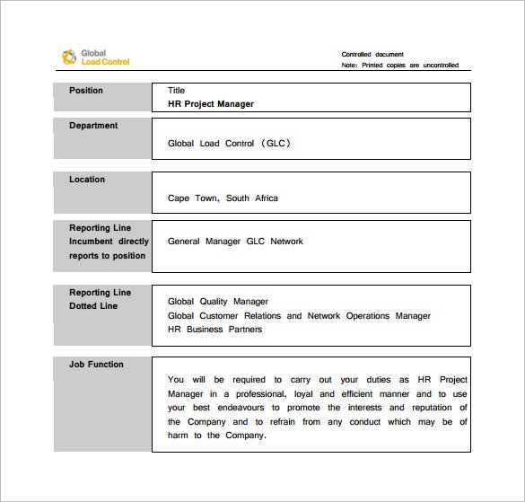 9 Project Manager Job Description Templates Free Sample – Job Description Form Sample