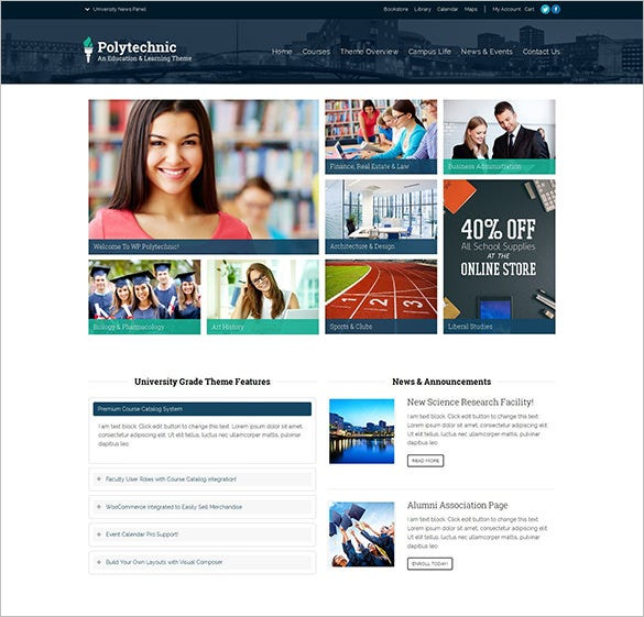 education courses events blog theme