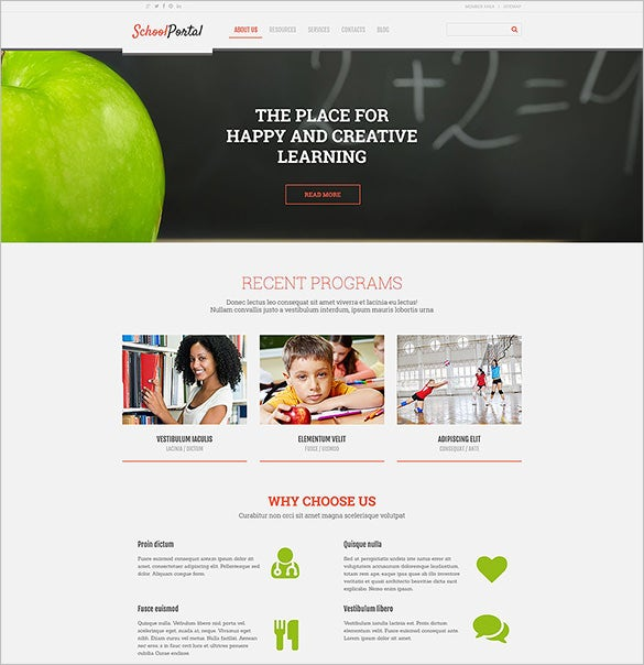 elementary school responsive blog theme