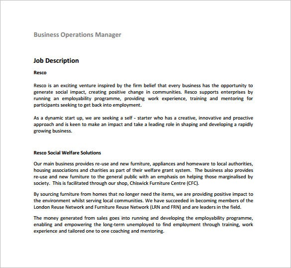 Good Operations Manager Job Description For Business Free PDF Download