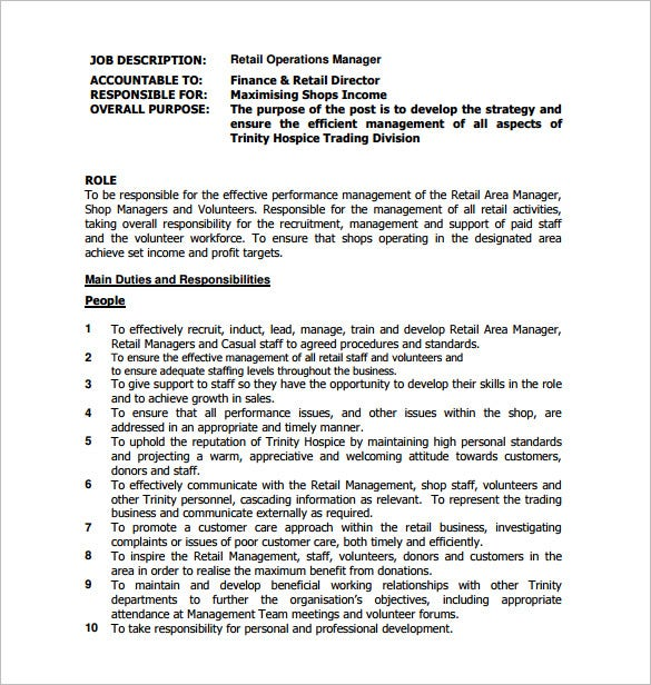Operations Manager Job Description Template 9 Free Word PDF – Finance Director Job Description