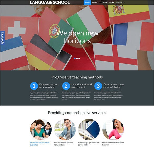 language school responsive blog theme