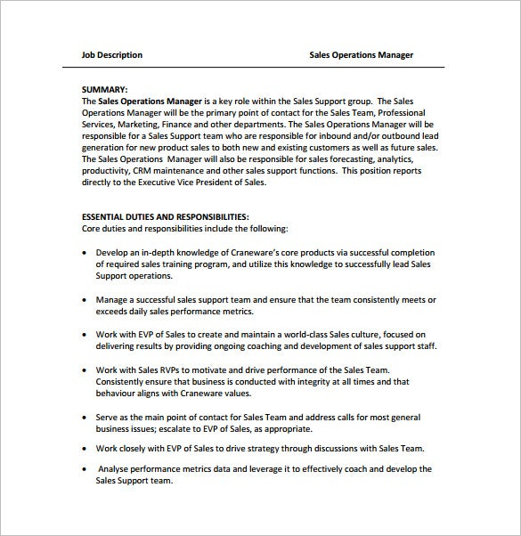 Sales Support Manager Job Description  Template