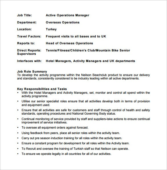 Attractive Active Operations Manager Job Description PDF Free Download