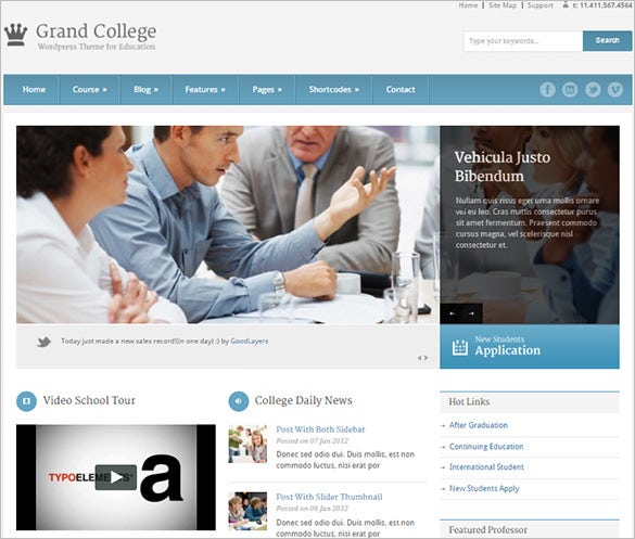 grand college blog theme for education
