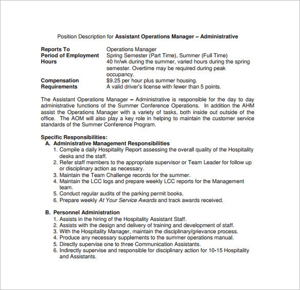 Operations Manager Job Description Template   Free Word Pdf