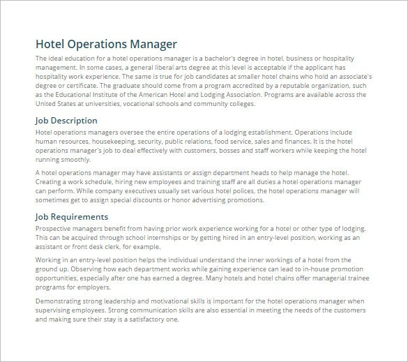 Exceptional Operations Manager Job Description For Hotel Free PDF Template