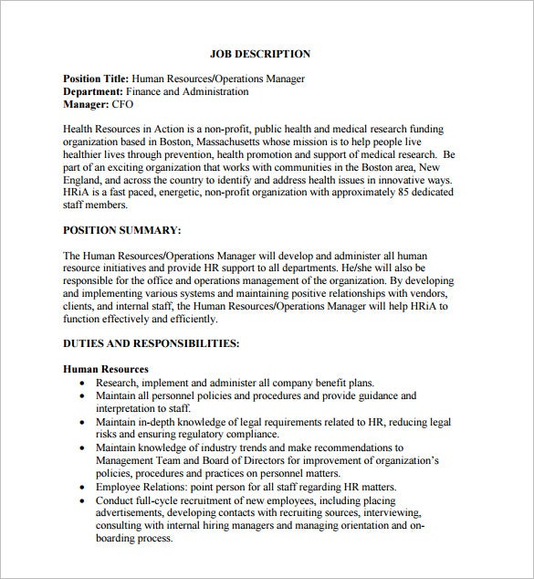 human resource operations manager sample job description free download. Resume Example. Resume CV Cover Letter