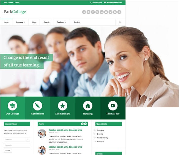 park college education responsive blog theme