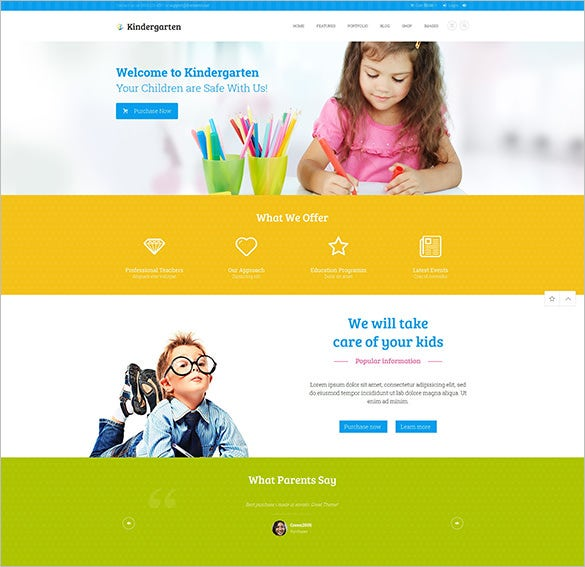 kindergarten children education blog theme