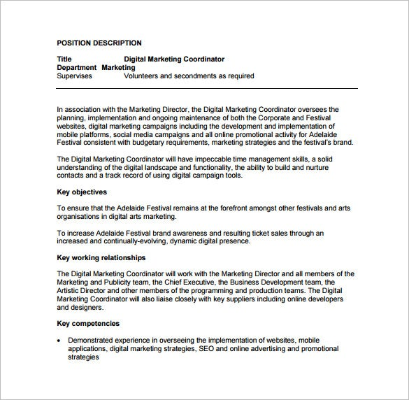 Marketing Coordinator Job Description Template - 13+ Free Word ...