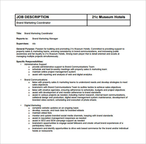 Marketing Coordinator Job Description Template   Free Word