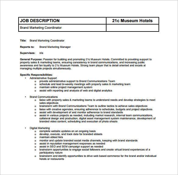 Hotel Sales Coordinator Job Description livmooretk – Coordinator Job Description