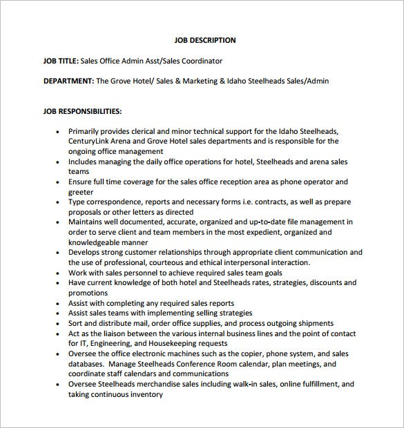 hotel sales marketing coordinator job description free pdf