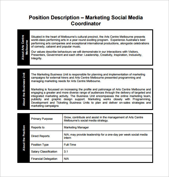 Social Media Marketing Coordinator Sample Job Description Free Download
