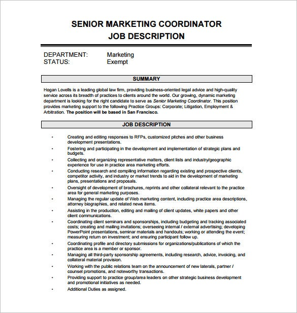 senior marketing coordinator job description free pdf template
