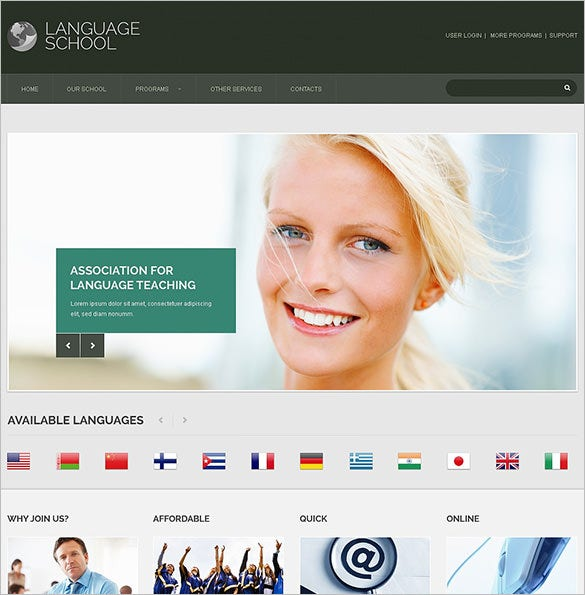 language school responsive bootstraptemplate