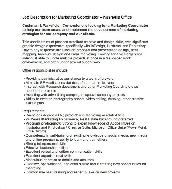 marketing coordinator job description for real estate free pdf
