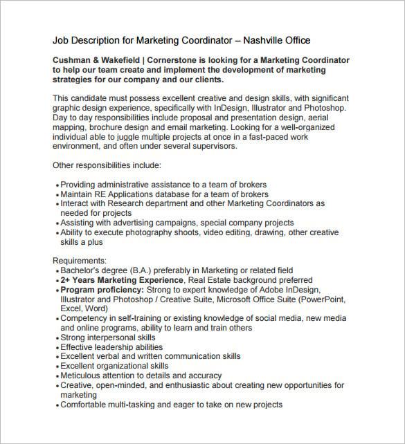 Sales Coordinator Job Description – Project Coordinator Job Description