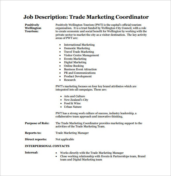 trade marketing coordinator job description free pdf download