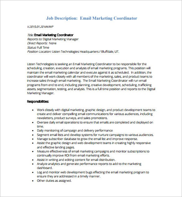 email marketing coordinator job description free pdf template