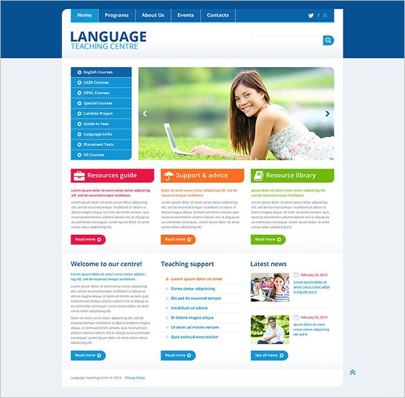 language school education bootstrap template