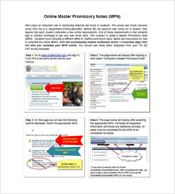 online master promissory note
