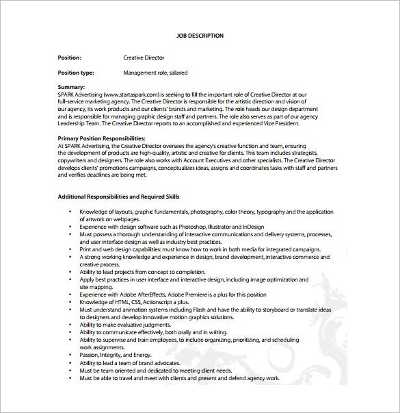 Creative Director Job Description Template 8 Free Word PDF – Executive Director Job Description