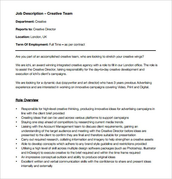 creative director job description for advertising free pdf