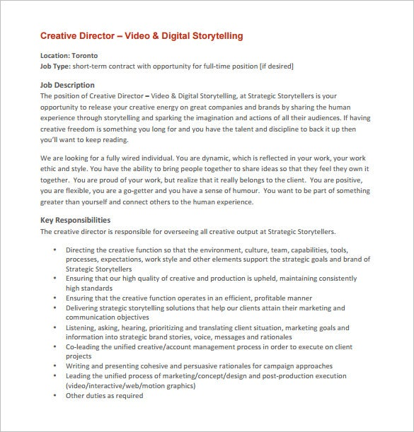 Creative Director Job Description Template   Free Word Pdf