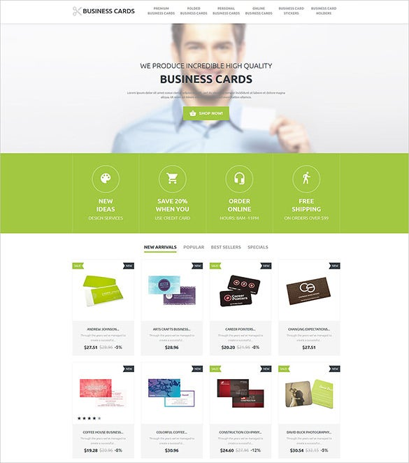 business cards prestashop template