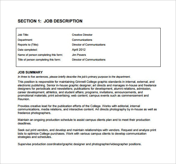 9 Creative Director Job Description Templates Free Sample – Job Description Form Sample