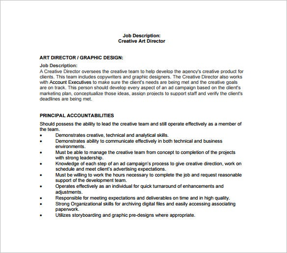 free creative art director job description pdf download