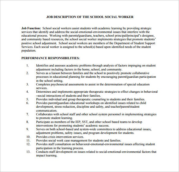 school social worker description free pdf template