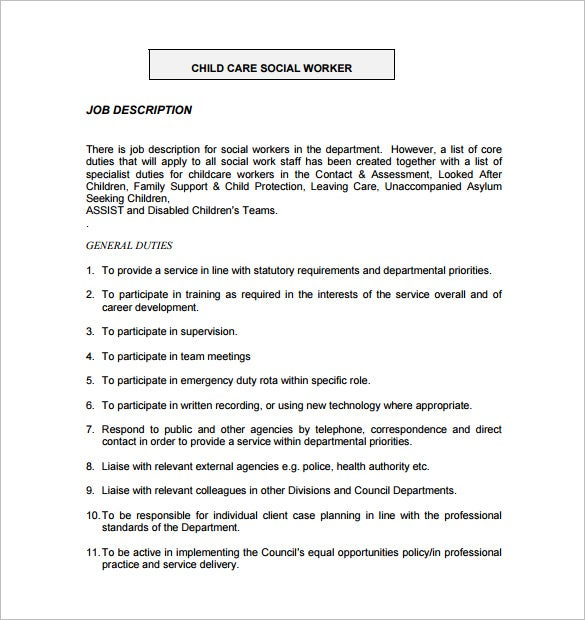 child care social worker job description free pdf template