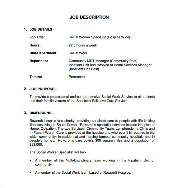 Social Worker Job Description Template - 7+ Free Word, Pdf Format