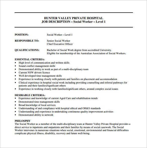 social worker job description for hospital free pdf template
